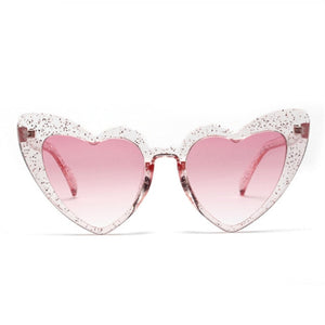 YOOSKE Love Heart Sunglasses Women Cute Sexy Female Retro Cat Eye Sun Glasses Vintage 90s Pink Glasses Red Flash Eyewear