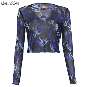 Blue Flame Print Mesh Top