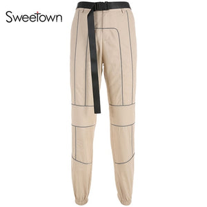 Sweetown Reflective Stripe Patchwork Gothic Cargo Pants Women Streetwear New Arrival 2019 High Waist Trousers With Sashes
