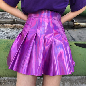Holographic Pleated Skirts Women PU Solid Harajuku Casual Sexy Laser Hight Waist Mini Short Skirt Women Rainbow