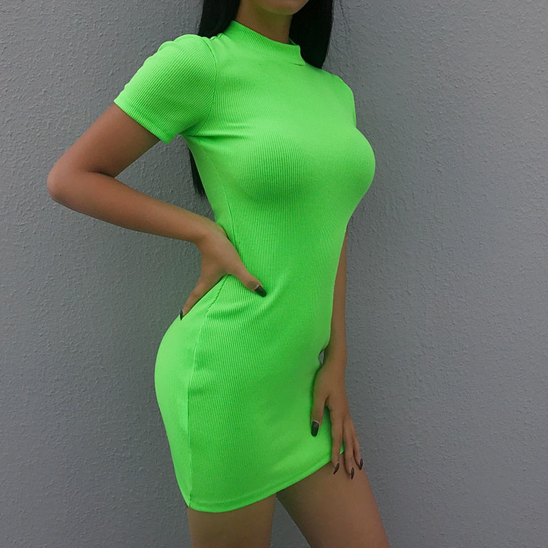 Neon Green Ribbed Mini Dress