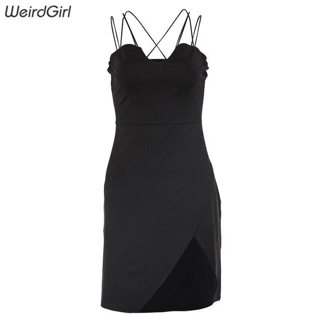 Weirdgirl women elegant dresses sexy club party Strapless sleeveless summer dress solid black Bodycon Vestidos new arrivel 2019