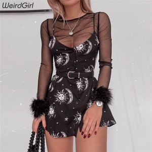 Weirdgirl women dresses loose v-neck sleeveless mini dress black sun moon star printing Elegant Female spring summer dress new