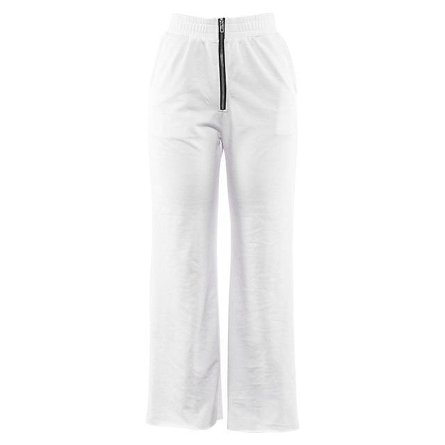 Smooth White Joggers W/Zipper
