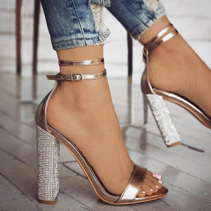 Women Open Toe Strappy Ankle Strap Gold Sandals Crystal Transparent Clear Block Thick High Heel Sequined Shoes Woman Plus Size