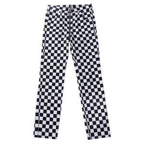 InstaHot Plaid Zipper Checkered Straight Pants Women Fashion Casual Slim Pockets Long Pants Black White Pencil Pantalon Femme