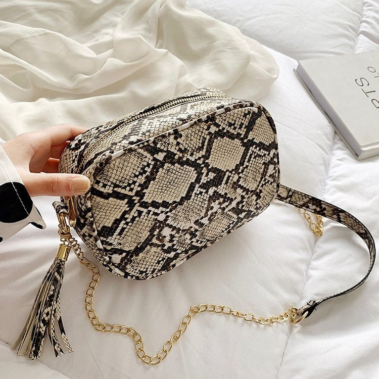 Shoulder Bag Tassel Chain Snake Skin Pattern