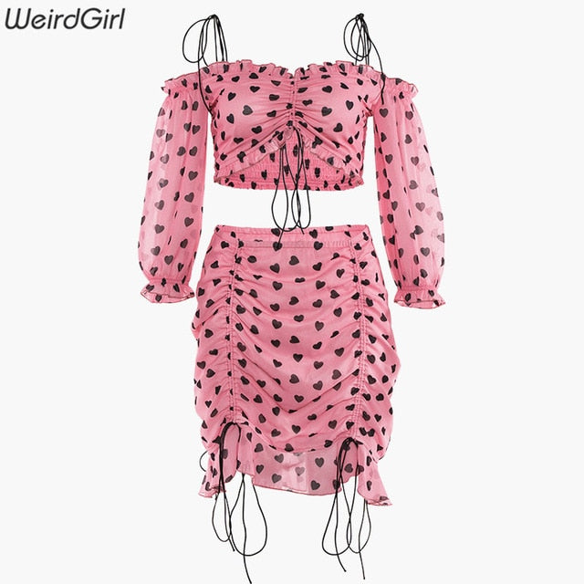 Weirdgirl women sets 2 pieces love star print strapless camis crop tops slim lady mini skirt adjusted streetwear summer new 2019