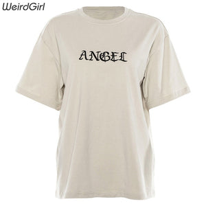 Weirdgirl Women Angel embroidery Casual Fashion T-shirts letter Short Sleeve O-Neck Khaki Loose elastic Female Tees Summer New