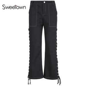 Sweetown Black Side Eyelet Bandage Streetwear Pants Women Clothes 2019 Punk Gothic Woman High Waist Wide Leg Pants And Joggers