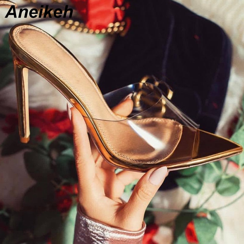 Gold Pointy Toe Mules