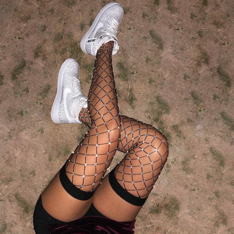 Black Thigh High Rhinestone Fishnet Tights