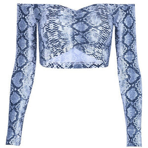 Sexy Fashion Women Crop Tops Tank Off Shoulder Snakeskin Full Sleeve Clubwear Crop Tops Ladies Popular Short Clothes NEW