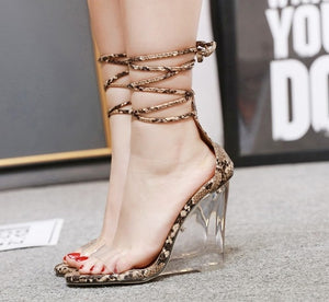 Piper Snake Print Lace Up Wedge Heels