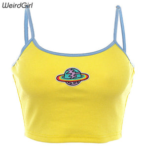 Weirdgirl women embroidery camis sexy party femme vest crop tops slim strapless elastic sleeveless fashion summer cool new 2019
