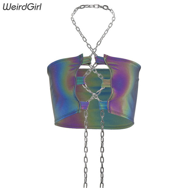 Weirdgirl women Reflective camis multicolor sexy club party crop tops Chain hollow out Sleeveless slim summer tops new 2019