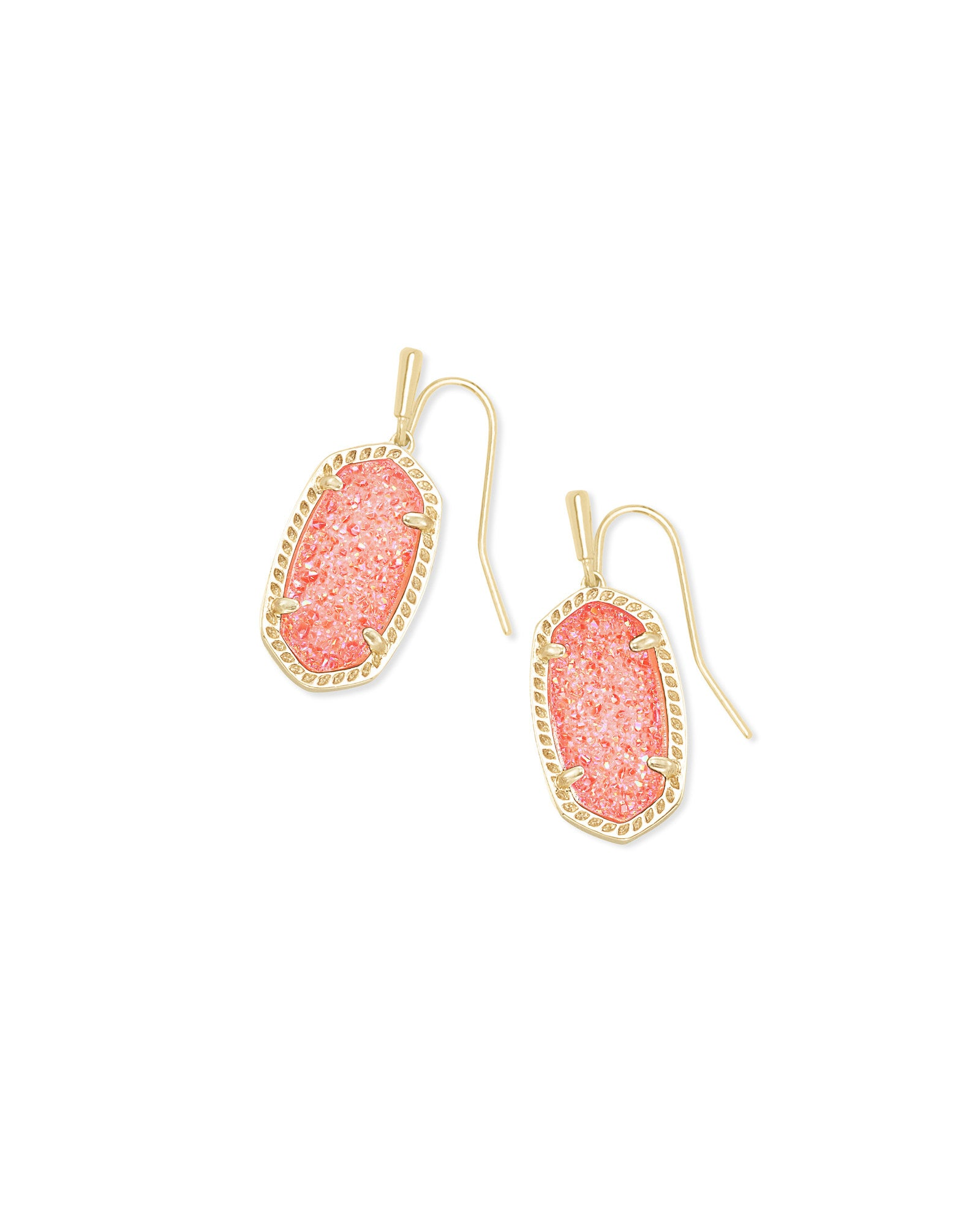 Lee Gold Coral Drusy Earring