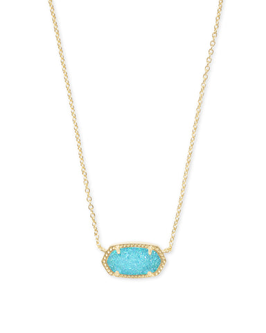 Elisa Gold Aqua Drusy Necklace