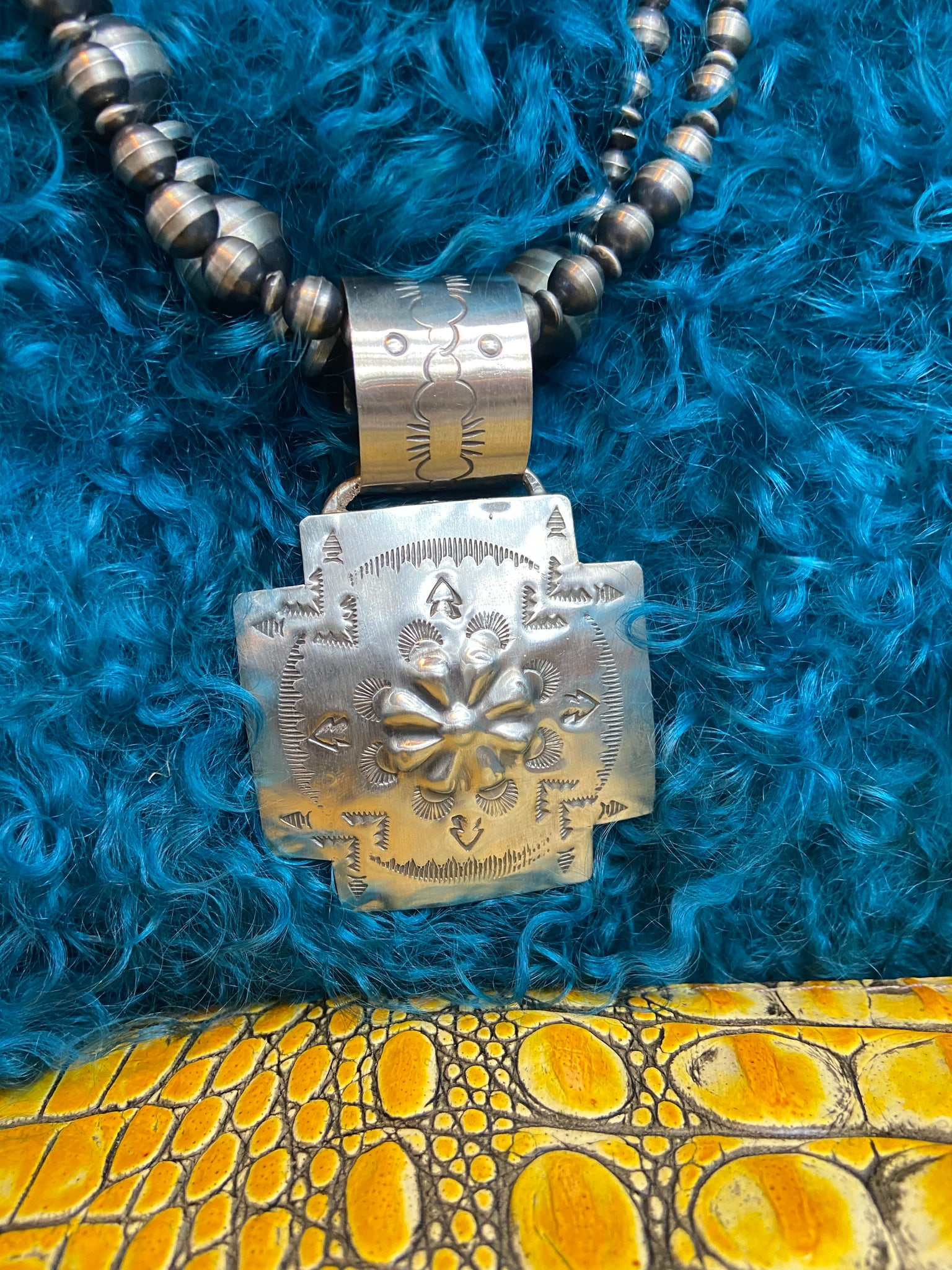Stamped J Sterling Silver Cross Pendant