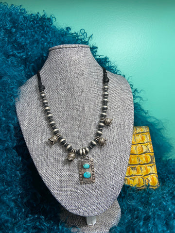 Double D Ranch Adjustable Sterling Silver/Turquoise Necklace