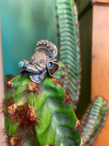 Stamped Sterling Silver/Turquoise Saddle Ring