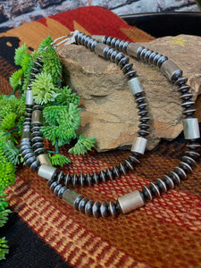 J Harley Handmade Saucer Barrel Navajo Pearls Necklace