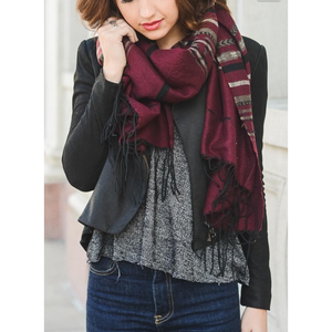 Burgundy Native Boho Tassel Scarf Women - Accessories - Scarves - Brisho.com