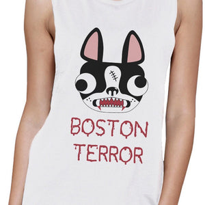 Boston Terror Terrier Womens White Muscle Top Women - Apparel - Activewear - Tops - Brisho.com