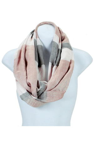 Colorblock Stripe Wide Infinity Scarf Lightweight