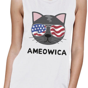 Ameowica Womens White 4th Of July Muscle Tank Top For Cat Lovers