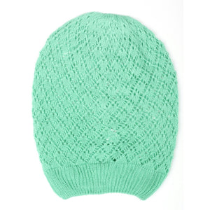 Mint Diamond Crochet Lightweight Beanie Hat Women - Accessories - Hats - Brisho.com
