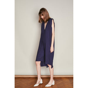 Navy Asymmetric Jumpsuit with Plunging Neckline Women - Apparel - Jumpsuits/Rompers - Brisho.com