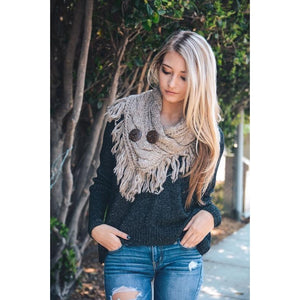 Beautiful Mocha Infinity Scarf w/ Buttons