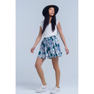 Blue mini skorts with floral print Women - Apparel - Skirts - Mini - Brisho.com