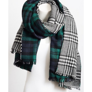 Green Blend Tartan Fringe Scarf Women - Accessories - Scarves - Brisho.com