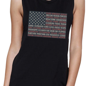 50 States Us Flag Womens Black Muscle Top Cap Sleeve For 4 Of July Women - Apparel - Activewear - Tops - Brisho.com