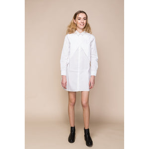 White Poplin Wrap Shirt Dress