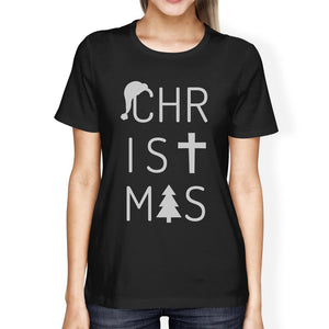 Christmas Letters Womens Black Shirt Women - Apparel - Shirts - T-Shirts - Brisho.com
