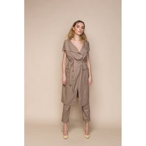 Brown Linen Trousers Vest Co Ordinates Women - Apparel - Pants - Trousers - Brisho.com
