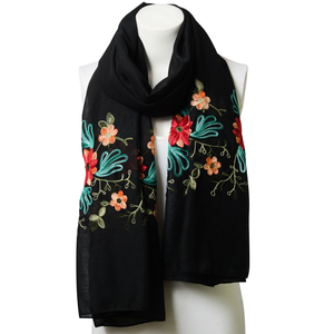 Beautiful Black Floral Print Lightweight Boho Embroidered Scarf