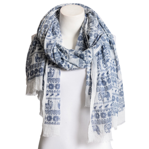 Beautiful Navy Blue & White Lightweight Elephant Boho Scarf