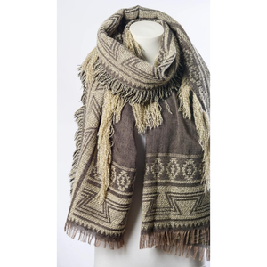 Beautiful Mocha Geometric Tribal Print Blanket Scarf