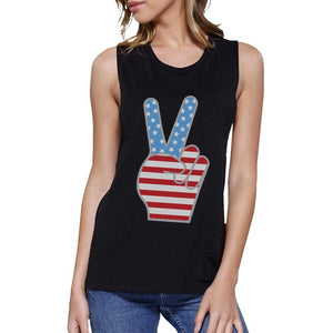 American Flag Cute Peace Sign 4th Of July Women Black Muscle Tee