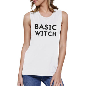 Basic Witch Womens White Muscle Top