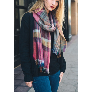 Beautiful Fuchsia Mix Plaid Winter Long Fringe Scarf