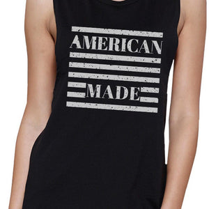 American Made Funny Womens Black Muscle Top For Independence Day