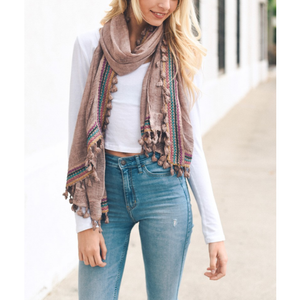 Boho Multi-Color Tassel Trim Rose Scarf Women - Accessories - Scarves - Brisho.com