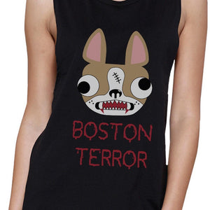 Boston Terror Terrier Womens Black Muscle Top Women - Apparel - Activewear - Tops - Brisho.com