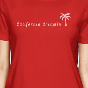 California Dreaming Womens Red Cute Palm Tree Design Summer T-Shirt Women - Apparel - Shirts - T-Shirts - Brisho.com