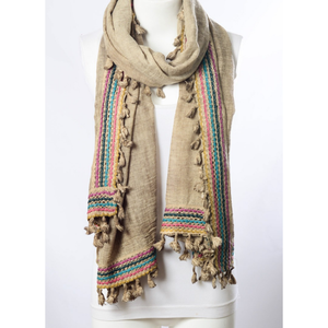 Boho Multi-Color Tassel Trim Mocha Scarf Women - Accessories - Scarves - Brisho.com